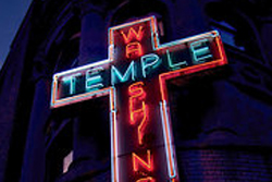 A neon sign, made about 1956, at the Washington Temple Church of God in Christ in Crown Heights, Brooklyn; patience was needed to photograph the flashing letters and cross.